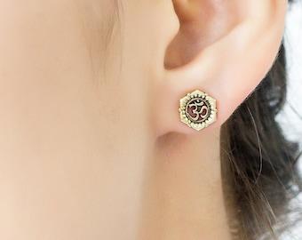 OM lotus stud earrings. tribal earrings. flower earrings. lotus earrings. lotus stud earrings. OM earrings. om earring studs. boho earrings.