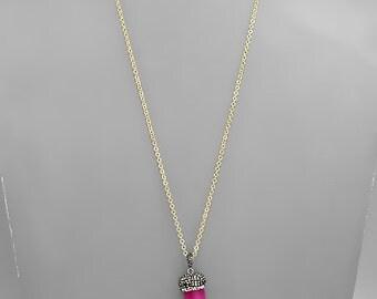 Fuchsia Pink Stone Tusk Pendant Necklace