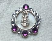 Antique Purple & Crystal in Circle Swirl ATS Tribal Fusion Bindi - 02073