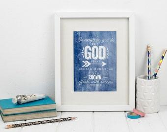 Proverbs 3:6 Bible verse framed print