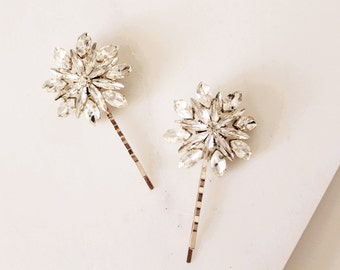 2 Crystal Hair Clip Hair Pins Gold Bobby Pins Silver Bobbi Pins Bridal Hair Clip Ferris Wheel Pins Dandelion Hair Pins Wedding Pins #163