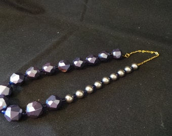 SALE Handmade Blue And Silver Beaded Asymetrical Necklace