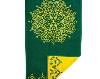 FREE SHIPPING Zen Home Decoration Gift for Soul Spa Decor Gift Mandala Hand Towel in Forest Green
