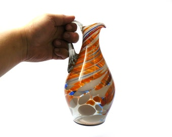 Vintage Pitcher, Vintage Glass Jug, Glass Pitcher, Jug orange glass decanter with handle, soviet glass vase, glass pitcher, vintage pitcher