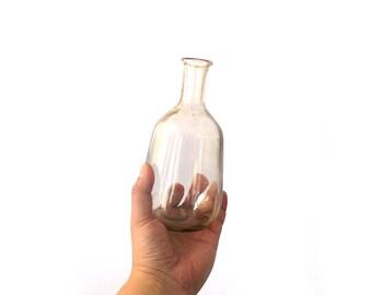 Vintage glass bottle, Glass vase made of pink glass, pink vase made of glass, big bellied bottle, decorative glass, glass decanter  pink