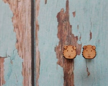 Gorgeous Guinea pig Earrings. Super Cute Hampster Stud Earrings. Life's too short to wear boring Jewellery. Etched Bamboo Earrings. Quirky.