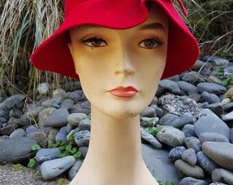 Sixties Seventies Red Wool Cloche Hat by Jean Arlett