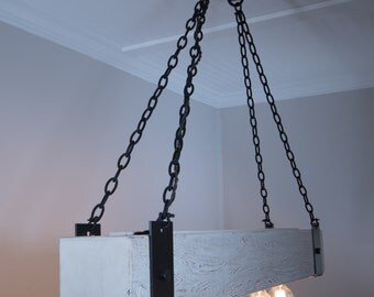 The Scantling 5ft Rustic Industrial Beam Chandelier with Metal Straps, Forged Chain and Edison Bulbs
