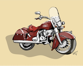 Art Print Motorcycle, hand- illustrated in pen and ink, digitally coloured