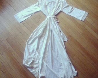 ivory silky night robe