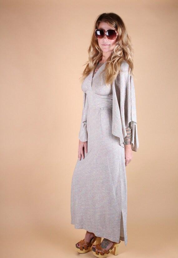 vtg rainbow METALLIC GRECIAN 70's maxi DRESS kimono sleeve