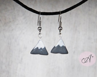 Earrings mountain, Mount Everest, fimo, polymer clay mountain jewel mountain, mountain grey, MADE TO ORDER