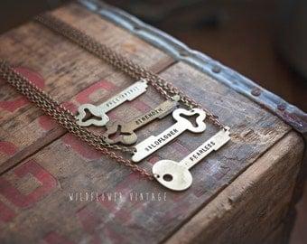 Horizontal Key Necklace | Hand Stamped Vintage, Repurposed, Sideways