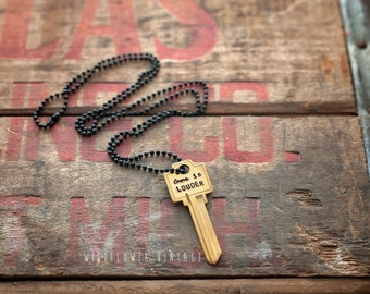 Love Is Louder Key Necklace | Hand Stamped Vintage