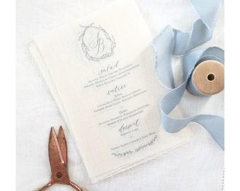 Custom Linen Calligraphy Menu; Personalized Wedding, Dinner Menu, Hand-lettered Menu Design-Minimum 40