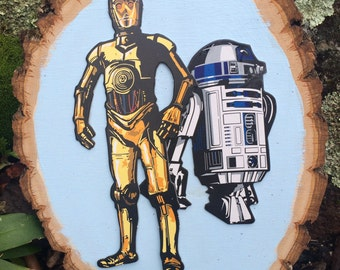 C-3PO and R2D2 Wooden wall decor