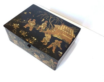 Exquisite Antique French Oriental Pattern Laquered Box.Beautifully hand painted.Grand Tour Inspired.Jewel Box,Keepsake Box