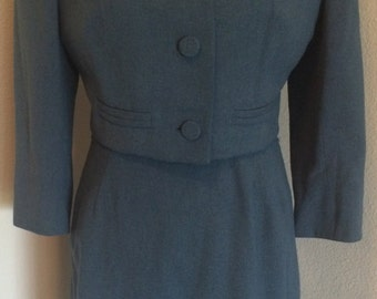 Impeccable 1940's Wool Gabardine 2 Piece Set Dress & Crop Jacket