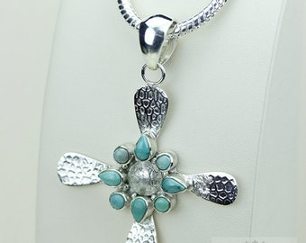 Hammered Finish! Light Weight 3 Inches in Size TURQUOISE CROSS 925 S0LID Sterling Silver Pendant + 4MM Snake Chain & Free Shipping P3474
