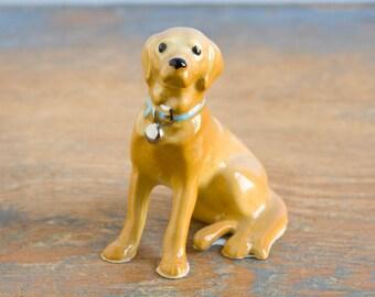 Hagen Renaker Miniature Yellow Labrador Retriever - Vintage Ceramic Dog Figurine