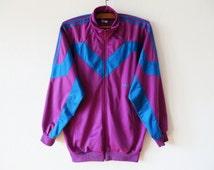 Vintage Purple Women's Adidas Running Jacket Jogging Aerobics Retro Parka Hipster Sport Coat Track Suit Three Stripes Size Large Adidas Coat
