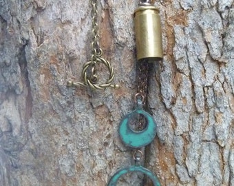 Distressed turquoise bullet casing necklace