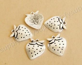 Cute Strawberry charm pendant,26mm,Antique Silver Supplies,Engraved DIY Supplies