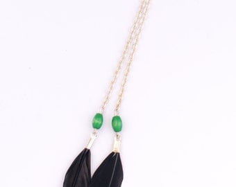 Feather earring with wood beads, feather jewelry, black earring, green earring- single earring
