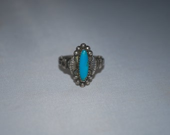 Sterling silver ring size 4.5 with turquoise setting.