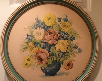 Large Vintage c. 1930's-40's Art Print by Jo Roelofs / Floral Still Life Art Pub Co / Round White and Blue Wood Frame