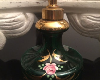 Vintage DeVilbiss Perfume Bottle Atomizer Green Hand Painted Pink Roses