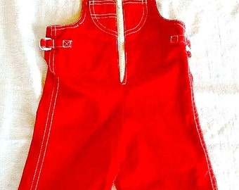 SALE!!! Vintage Izod Lacoste Baby Overalls 6 to 9 Months Red with White Zipper Streetwear Brand Name Baby Outfit