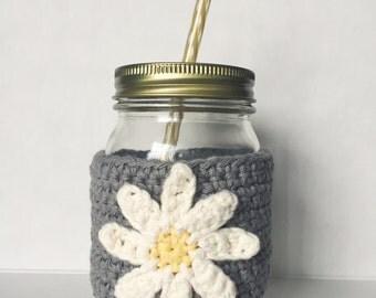 DAISY FLOWER | Crochet Mason Jar Coffee Cup Cozy Sleeve | Made to Order