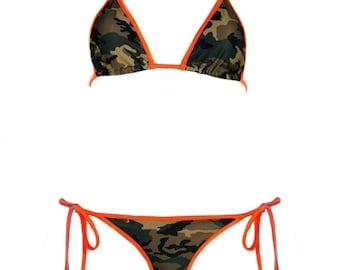 Camouflage Bikini Scrunch Bottom with Orange, Hot Pink or Red Trim - Sexy Army Girl Camo Brazilian Tie Sides- Cute Skimpy Trim Bottom