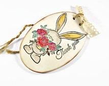 Thank you gift, Thank you card alternative, Cute bunny print clay plaque Appreciation giftThank you sign, Bridesmaid Flower girl thank you
