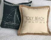 Folly Beach coordinates pillow
