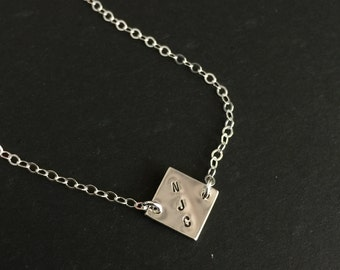 Personalized Silver Square Necklace, Initial Necklace, Sterling Silver Square Necklace, Minimalist Necklace, Simple Necklace, Date Necklace