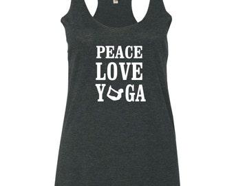 Peace Love Yoga Tank | Yoga Tank Top | Yoga Clothes | Fitness Tank Top