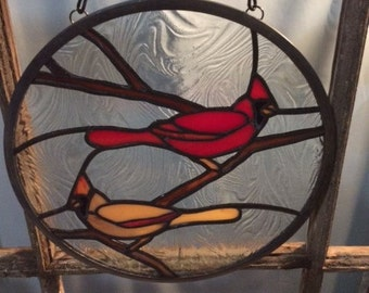 Cardinal Pair Round Stained Glass Suncatcher with Clear Textured Glass Background