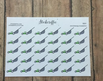 S221  Green Lawnmower Stickers for your Planner, Journal, or Scrapbook
