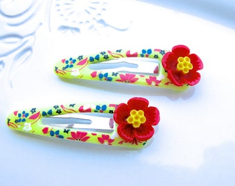 Hibiscus Hair Clip, Hawaiian Hair Clip, Hawaiian Hair Flower, Red Flower Hair Clip