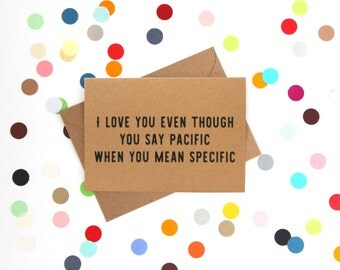 Funny Valentineu0027s Day Card, Funny Grammar Card, Funny Valentine Card: I  Love You