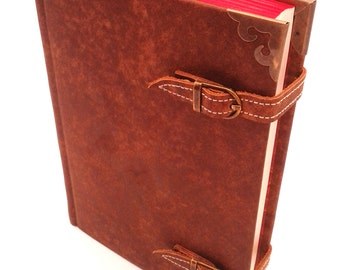"Leather book/journal ""Strapped"" - vintage, marbled paper, edge coloring, text embossing"