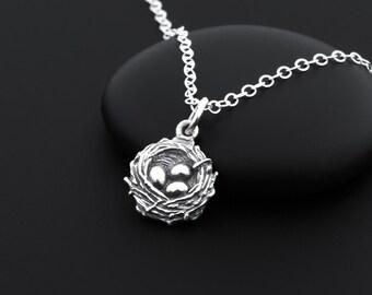 Bird Nest Necklace, Birdnest Necklace, Sterling Silver, Bird Nest Jewelry, Bird Lover Gift, Birds Nest Pendant, Mom of 3, Necklace for Mom