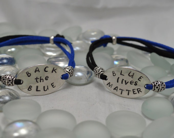 Back the Blue, Hand Stamped Adjustable Simple Bracelet, Unisex, Back The Blue, Blue Lives Matter, A Thin Blue Line, Police Support