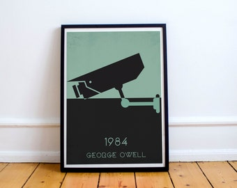 1984 · 2 Colour Options · Printable Home Decor · 8 x 10 Digital Art · Instant Download · Literary · Literary Gift · George Orwell · Wall Art
