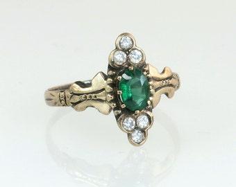 Antique Vintage Estate 10K Yellow Gold .60ct Genuine Diamond & Emerald Victorian Ring