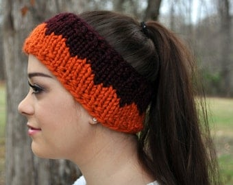 Knit VA Tech Headband, Orange & Maroon, Hokies, Chevron Earwarmer | HOKIE HEADBAND