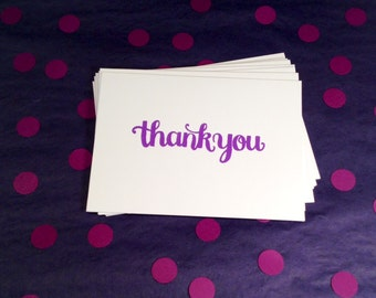 Thank You Folded Note Cards and Envelopes - Purple and White - Set of 8