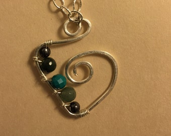 Wire Wrapped Beaded Pendant